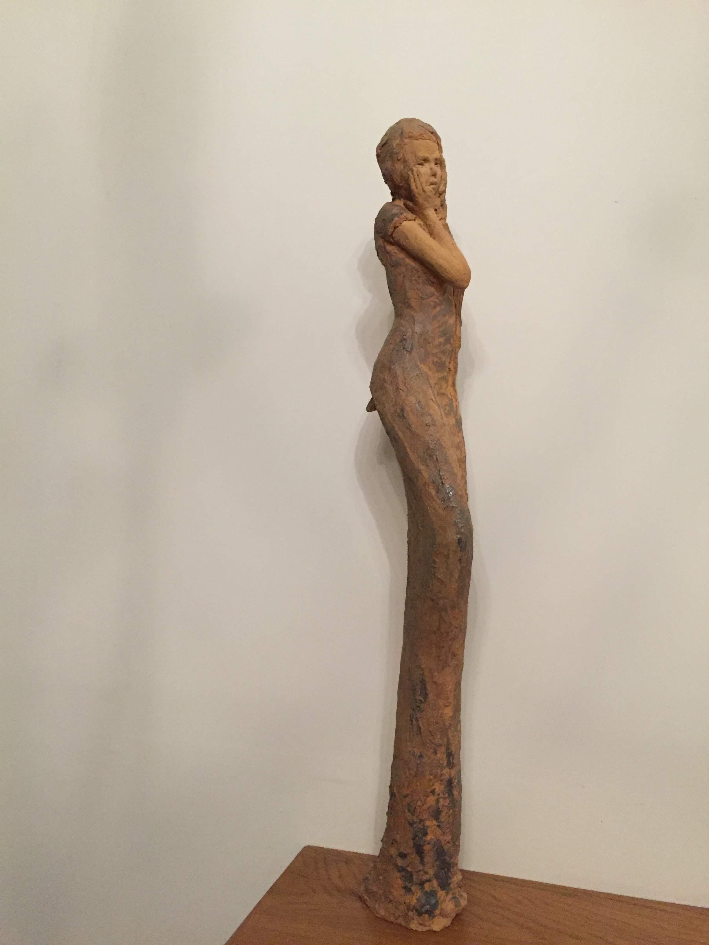 Sculpture cuisson bois terre cuite sculpture femme longue songe douce