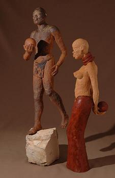 sculpture couple africain