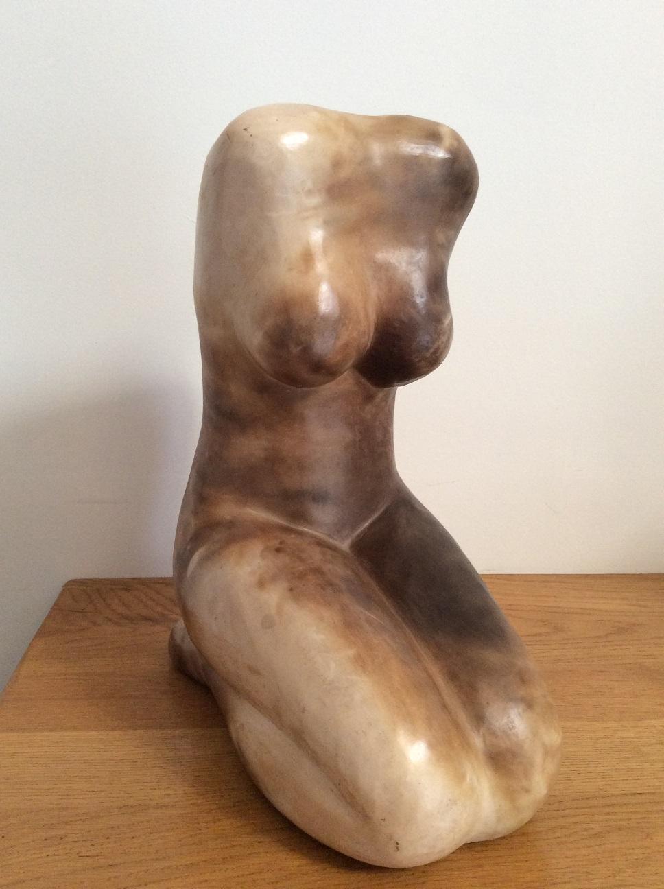 buste terre enfume paille sculpture terre cuite buste femme christine lambert