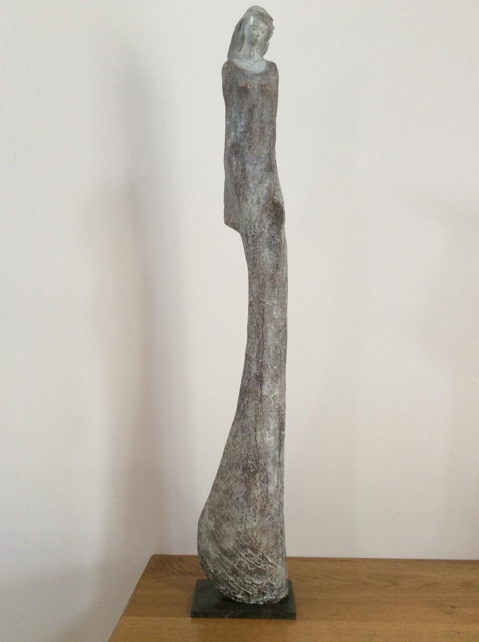 bronze femme longue sculpture patinée blanche un mètre christine lambert