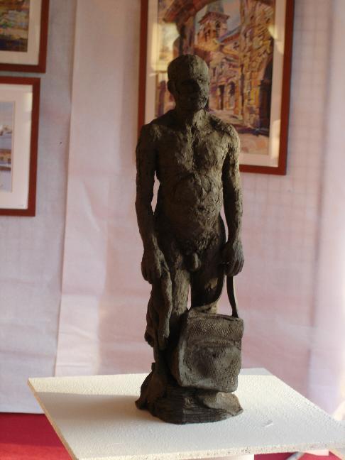 sculpture nu homme terre cuite