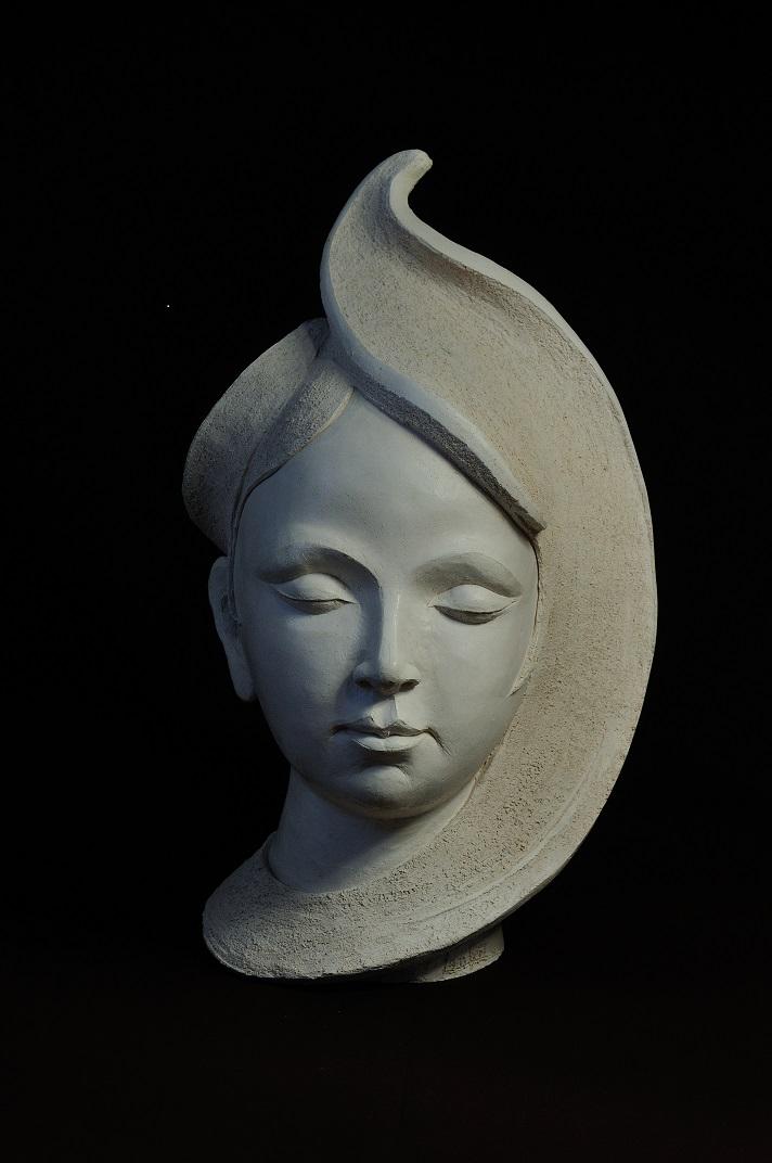 sculpture terre cuite bouddha femme stylisée blanche christine lambert