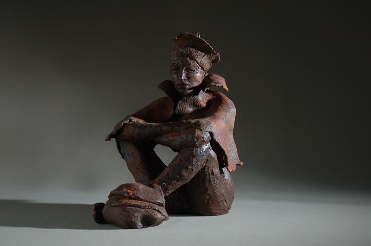 sculpture femme nu voyage chapeau