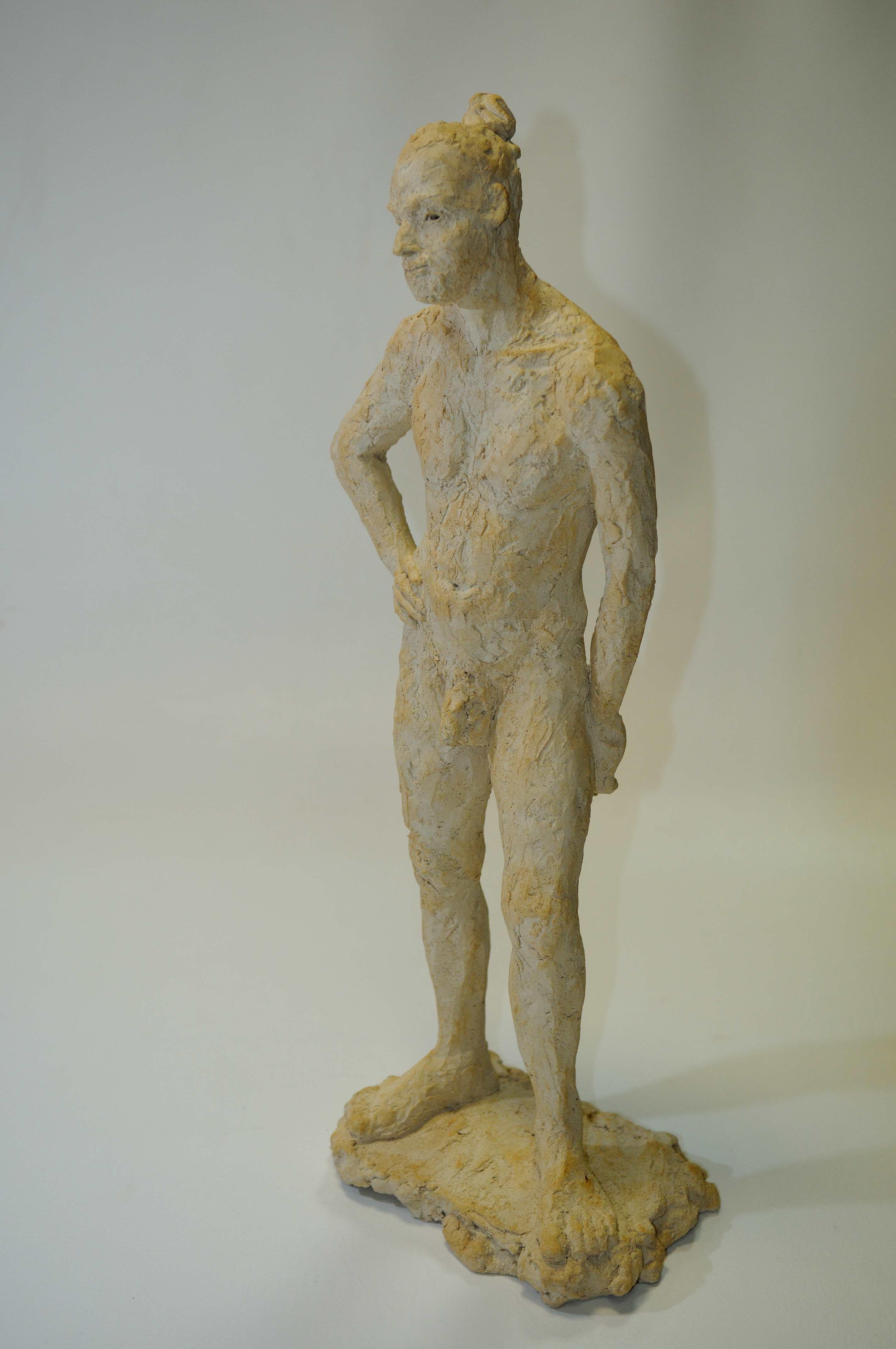 sculpture homme nu terre cuite patinée terre naturelle