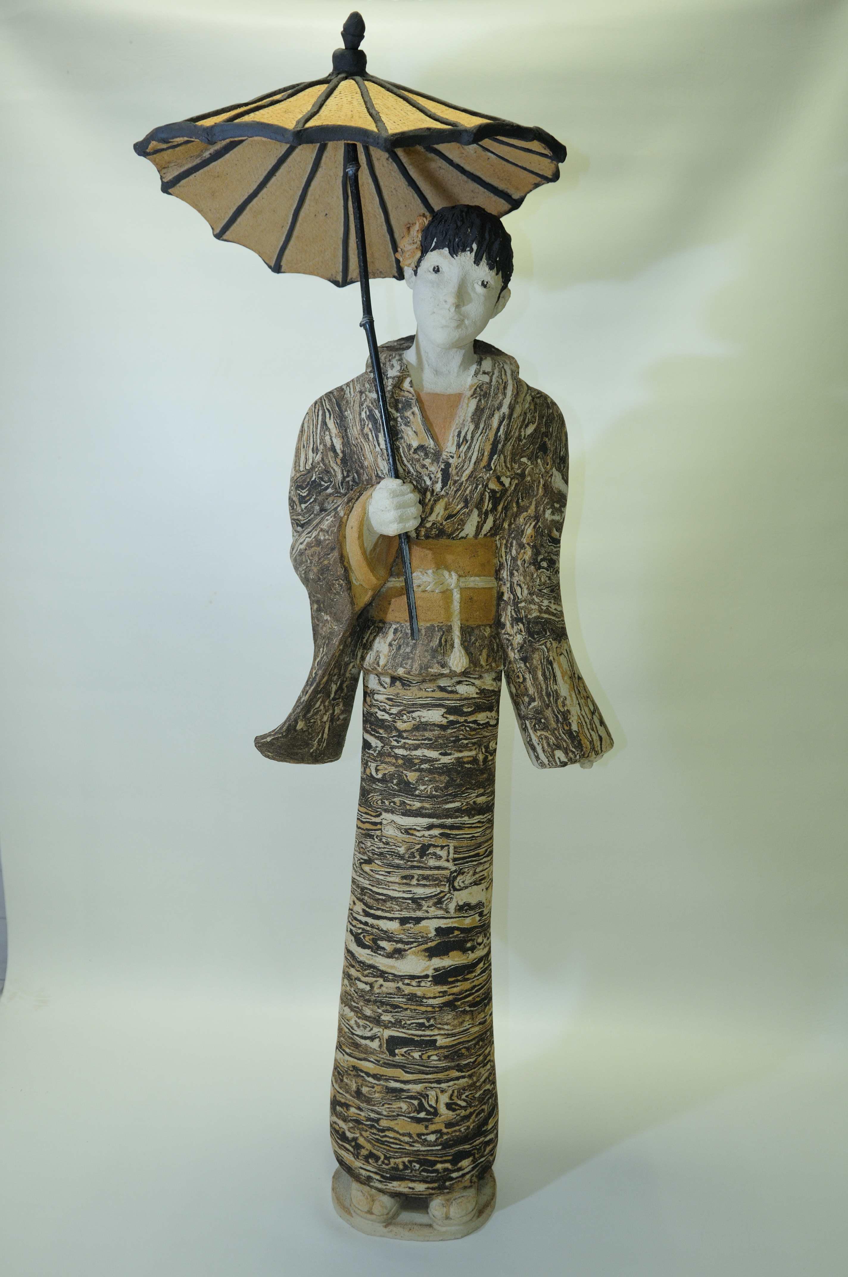 sculpture terres mélées sculpture taille humaine asiatique ombrelle