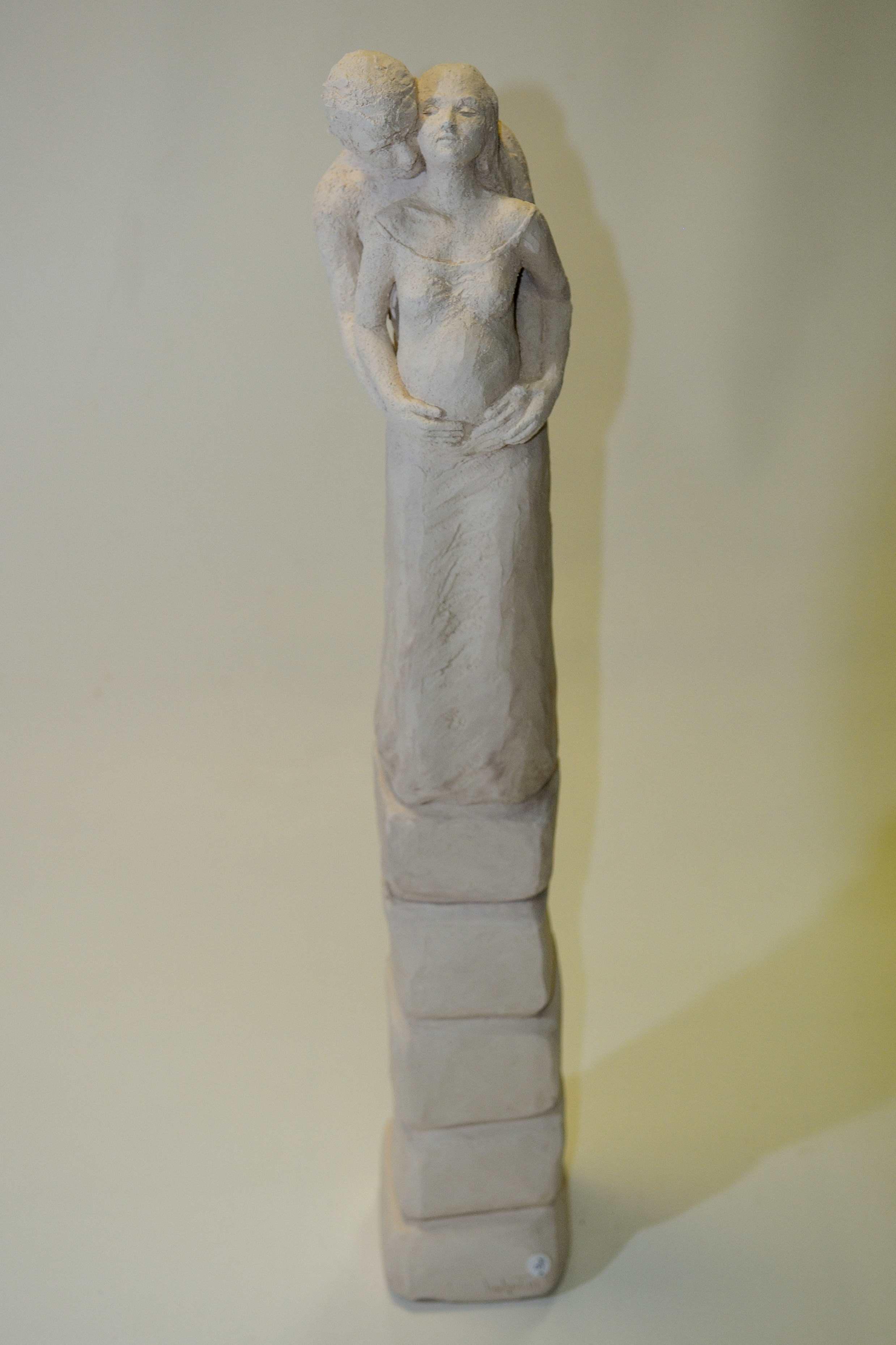 sculpture couple terre cuite blanche 1000 degres