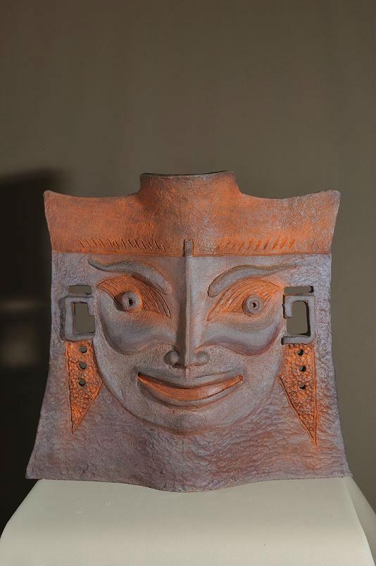 sculpture face asiatique face rieur face pleur